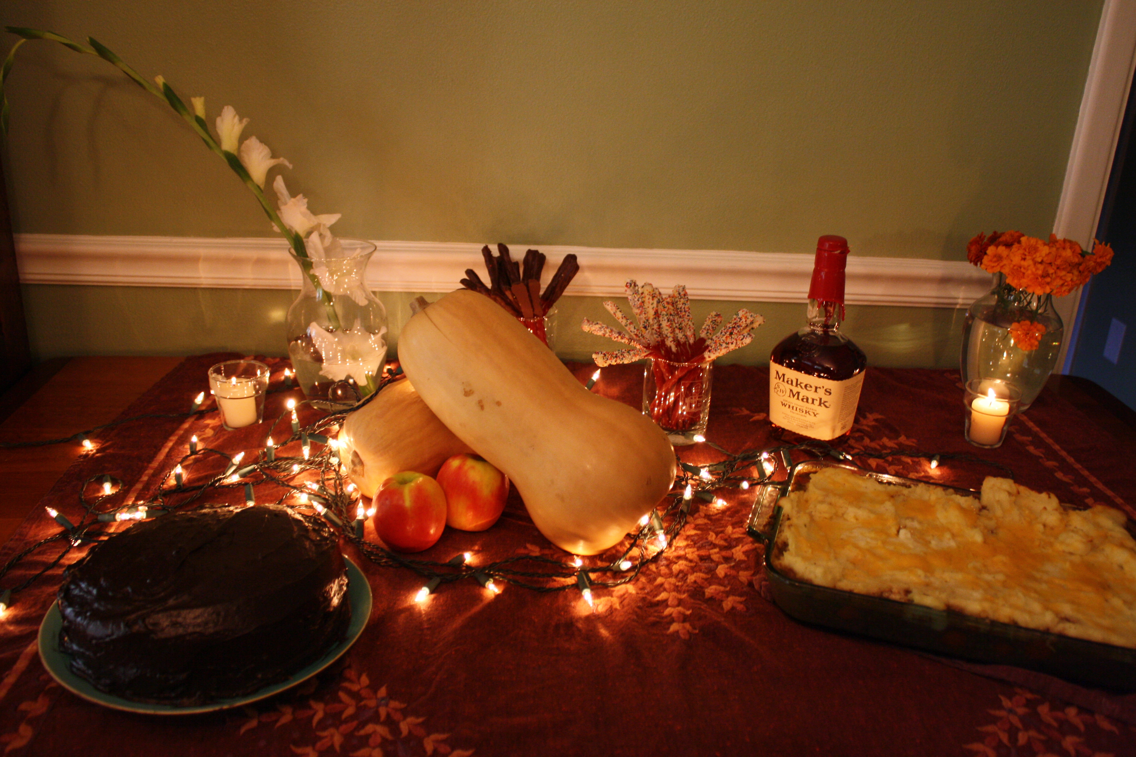 Here is our food spread: Shepherd's Pie, Chocolate Cake from Hagrid ...